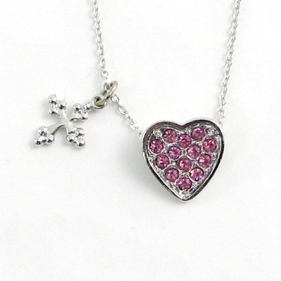 Heart with Cross Pendant, Pink Stones  -