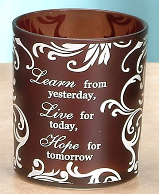 Learn, Live, Hope Votive Holder, Brown  -