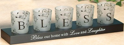 BLESS Votives and Holder, Set of 5  -