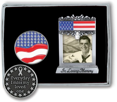 In Loving Memory, Patriotic Token and Photo Frame Set  -