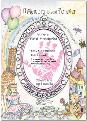Baby's First Handprint Ornament, Girl  -