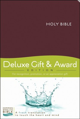 CEB Deluxe Gift and Award Bible Imitation Leather Burgundy Red Letter  -