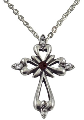January Birthstone Cross Necklace, Garnet  -