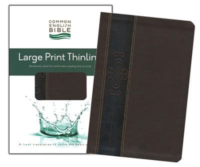 CEB Thinline Bible, Large Print edition, Soft leather-look, Walnut Key  -