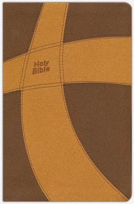 CEB Common English Bible Thinline DecoTone Brown and Gold Cross - Imperfectly Imprinted Bibles  -