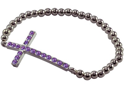 Amethyst Cross Bracelet, Horizontal  -