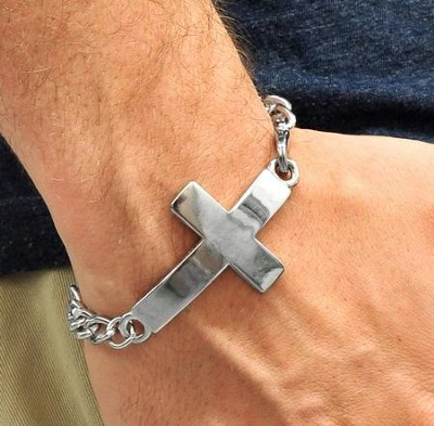 Men's Style Horizontal Cross Bracelet   -