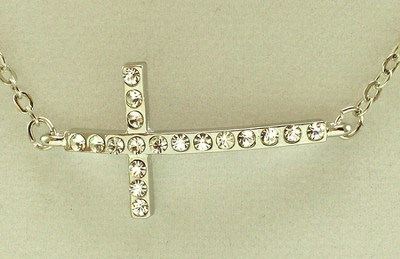 Crystal Cross Necklace, Horizontal  -