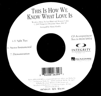 This Is How We Know What Love Is (CD Octavo Track)   -     By: Lee Black, Annette Oden