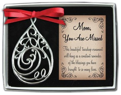 Mom, Filigree Tear Ornament  -