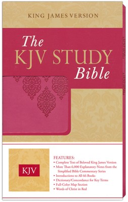KJV Study Bible Imitation Leather, Pink  -