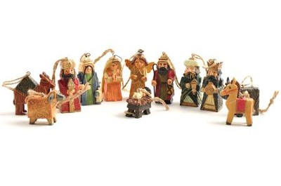 Wood Look Nativity Ornaments, Set of 12  -