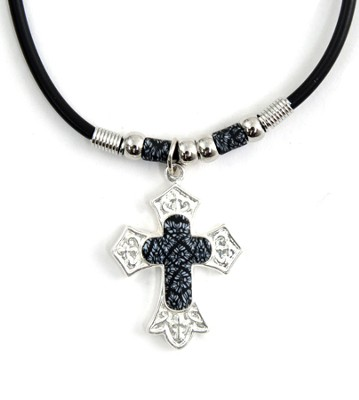 Cross Necklace, Silver and Black  -
