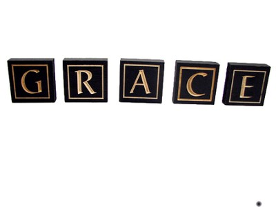 Grace Letter Blocks, Black   -