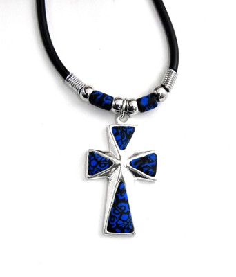 Cross Necklace, Silver and Blue  -