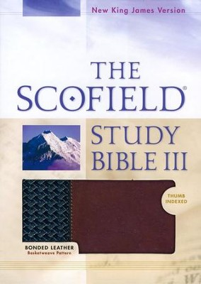 NKJV Scoffield Study Bible III, Basketweave BK/BG,  Bonded Leather, Thumb-Indexed - Imperfectly Imprinted Bibles  -