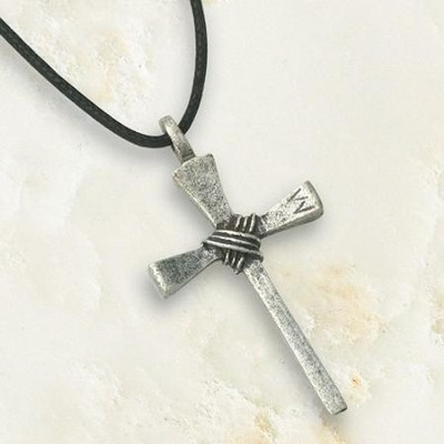 Small Nail Cross, Pewter Pendant   -