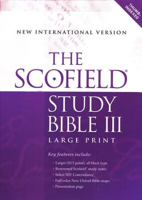 The Scofield Study Bible III, Large Print, NIV Thumb-Indexed  Bonded Leather Burgundy 1984  -