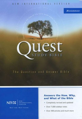 NIV Revised Quest Study Bible Bonded Leather, Navy 1984  -     By: Bible