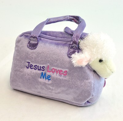 Jesus Loves Me Purse with Toy Lamb, Purple   -