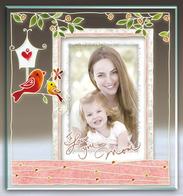 I Love You Mom Painted Photo Frame  -