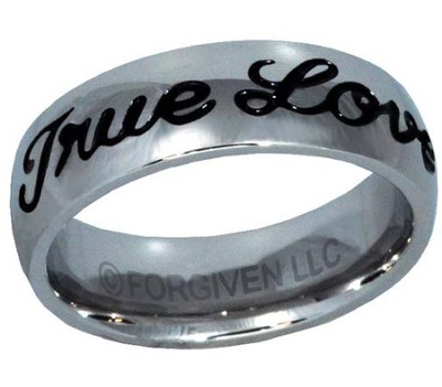True Love Waits Text Ring, Silver and Black, Size 12  -
