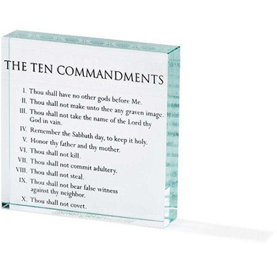 Ten Commandments Glass Block  -
