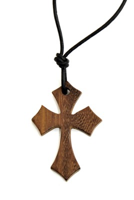 Pointed Ends Wood Cross Pendant  -