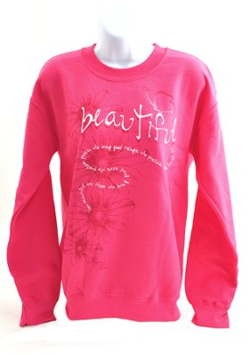 Beautiful, Isaiah 52:7, Sweatshirt, Pink, Medium  -