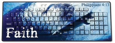 Faith Surfer, Philippians 4:13 USB Wireless Keyboard, Blue  -