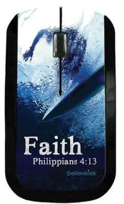 Faith Surfer, Philippians 4:13 USB Wireless Mouse Blue  -
