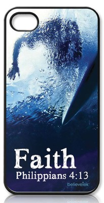 Faith Surfer, Philippians 4:13 iPhone 4 Case  -