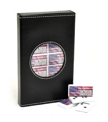 One Nation Under God America Flag Domino Set with Case  -