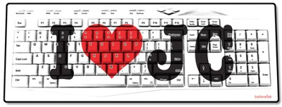 I Heart JC USB Wireless Keyboard, White  -