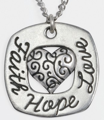 Faith, Hope, Love Heart Necklace   -