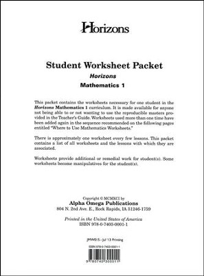 Horizons Mathematics Grade 1 Student worksheet packet  -