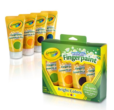 Crayola, Washable Fingerpaint, Bright Colors, 4 Pieces  -