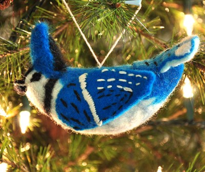 Felt Ornament Bird, Blue Jay, Fair Trade Product  -