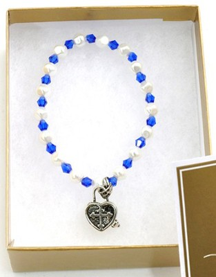 Prayer Box Cross Child Bracelet, September, Sapphire   -