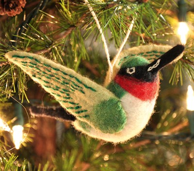 Felt Ornament Bird, Hummingbird, Fair Trade Product  -