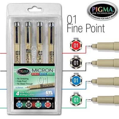 PIGMA Micron 01 Bible Note Pens, Set of 4   -