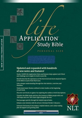 NLT Life Application Study Bible, Personal Size Bonded Navy  -