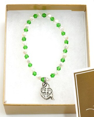 Prayer Box Cross Child Bracelet, May, Emerald   -