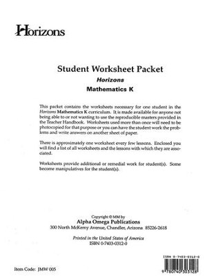 Horizons Mathematics Grade K Student worksheet packet  -