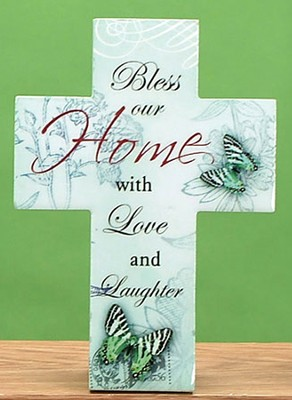 Bless Our Home with Love and Laughter Cross  -