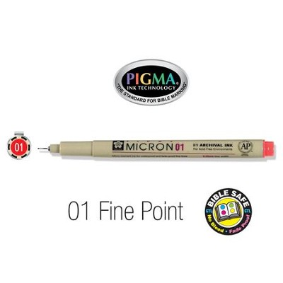 PIGMA Micron 01, Fine Bible Note Pen/Underliner, Red   -
