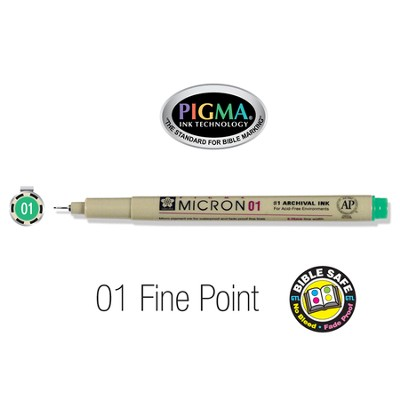 PIGMA Micron 01, Fine Bible Note Pen/Underliner, Green   -
