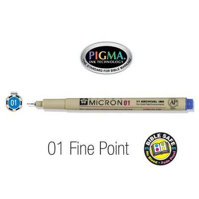 PIGMA Micron 01, Fine Bible Note Pen/Underliner, Blue   -