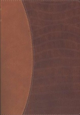 NLT Premium Slimline Large Print Bible TuTone Brown/Alligator  -
