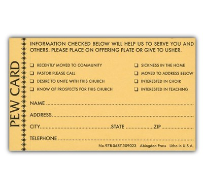 Pew Card - Request for Visitor (package of 25)  -